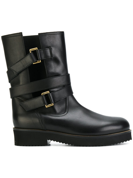 L'Autre Chose biker boots women leather black shoes