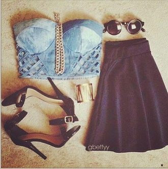 t-shirt skirt bralet denim edgy skirt shoes sunglasses blouse glasses necklace high heels