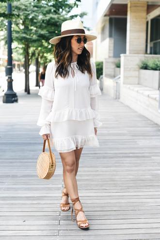 crystalin marie blogger dress hat shoes bag tumblr white dress long sleeves long sleeve dress mini dress sandals sandal heels round bag sun hat