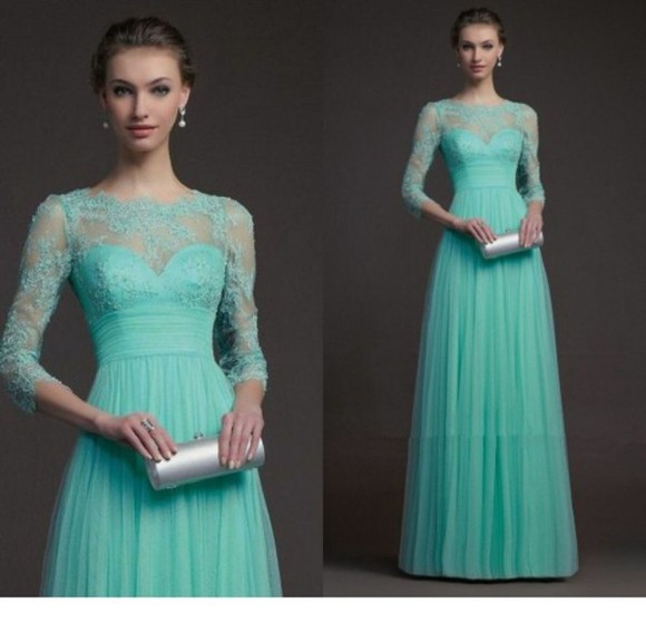 girl mint prom dress lace prom dress evening dress long sleeve dress