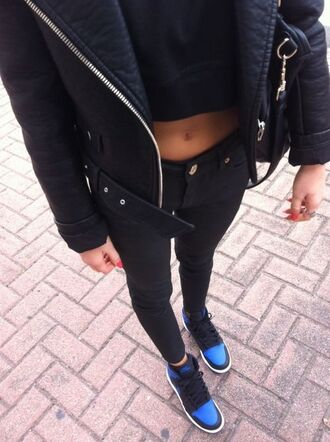 shorts blue nikes blue nike nike nike air force 1 high top sneakers high top nikes black nikes black blue black jeans black crop top black crop tops crop tops crop top leather jacket leather