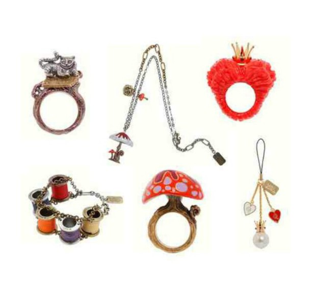 jewels ring necklace red quees mushrooms mad hatter cheshire cat