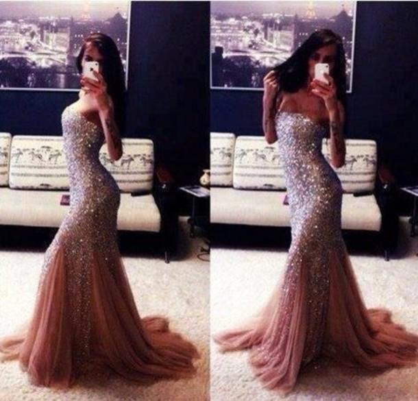 dress maxi dress glitter dress silver prom dress pink jacket skirt sparkle graduation dresses long prom dress sparkle glamgerous sparkly dress tan mermaid prom dress strapless