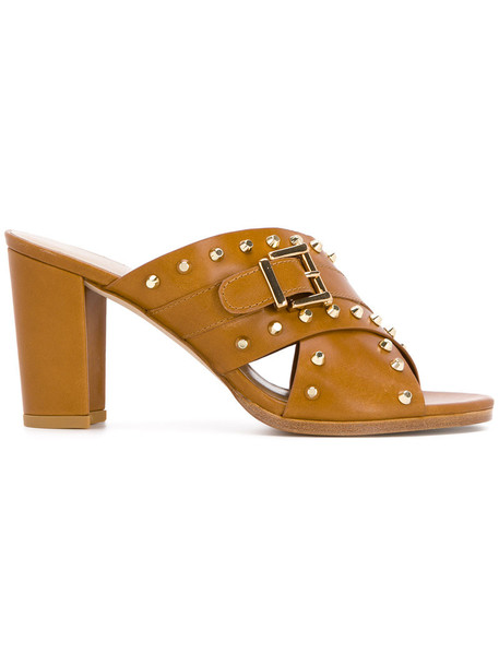 STUART WEITZMAN studded women mules leather brown shoes