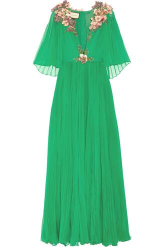 gown chiffon embellished silk dress