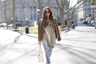 something navy blogger jacket sweater jeans shoes sunglasses bag