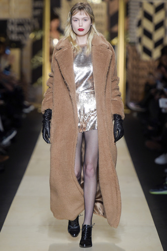 coat romper sequins metallic gold shoes camel coat gloves fashion week 2016 milan fashion week 2016