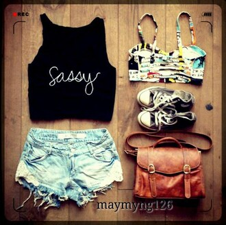 top crop tops lace shorts denim jeans sassy bra top converse bag summer fashion style black pretty shoes outfit