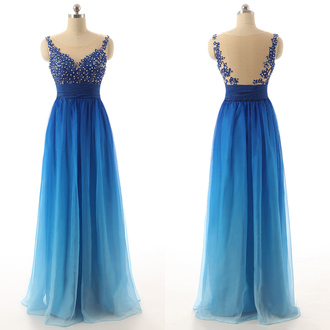dress prom blue elegant gown formal gradient fashion evening dress dressofgirl ombre
