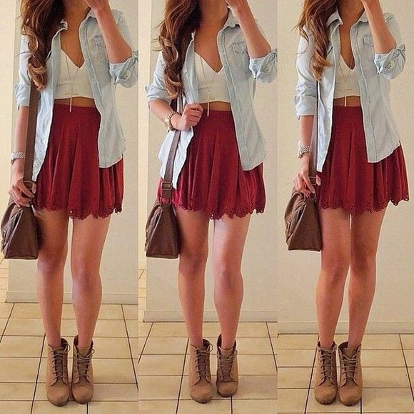 red skirt fall outfits denim skirt jewels shoes shirt bag jacket high waisted skirt cute maxi skirt flowy skirt blouse hipster grunge hippie tumblr one direction high heels crop too purse leather bag style boots flannel
