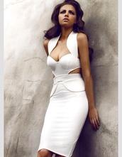 dress,white,midi,midi dress,bodycon,bodycon dress,white dress,cut-out dress,marilyn monroe