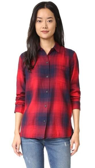 shirt plaid blue red top
