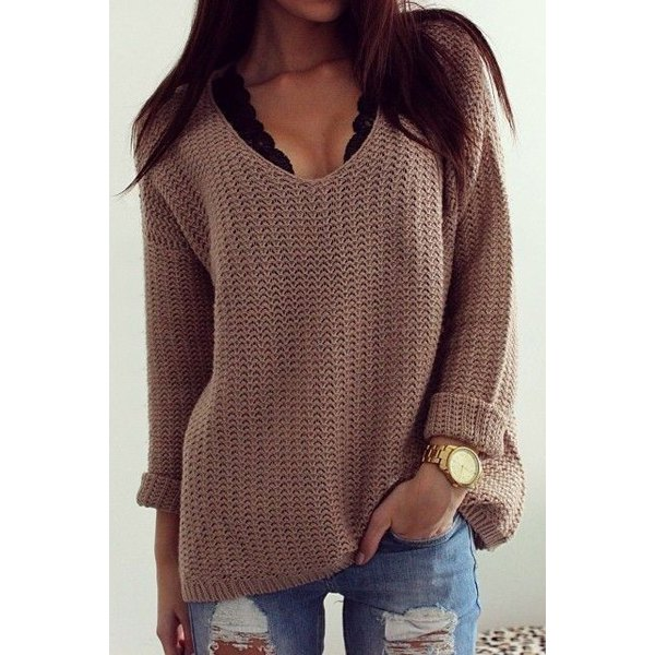 Solid Color Casual V-Neck Long Sleeves Pullover Sweater For Women ...
