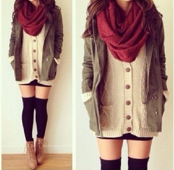 white cardigan scarf red scarves opaque tights sweater coat green coat military jacket winter sweater winter outfits belt shoes burgundy tan burgundy scarf, burgundy, knit, scarf, endless shoes, jacket, military jacket, knee high socks