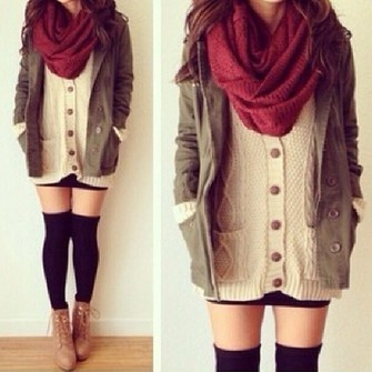 sweater shoes coat green coat army green jacket winter sweater winter outfits belt scarves white cardigan opaque tights burgundy tan jacket burgundy scarf knit endless knee high socks cardigan scarf red