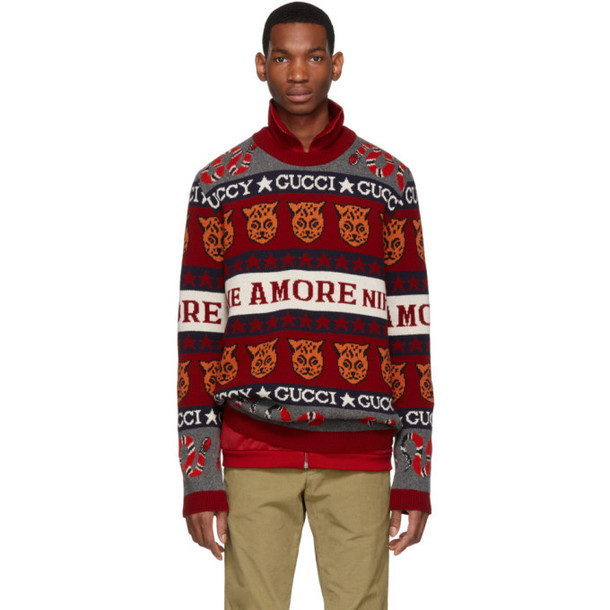 Gucci Red & White Wool Jacquard Symbols Sweater