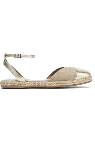metallic espadrilles leather beige shoes