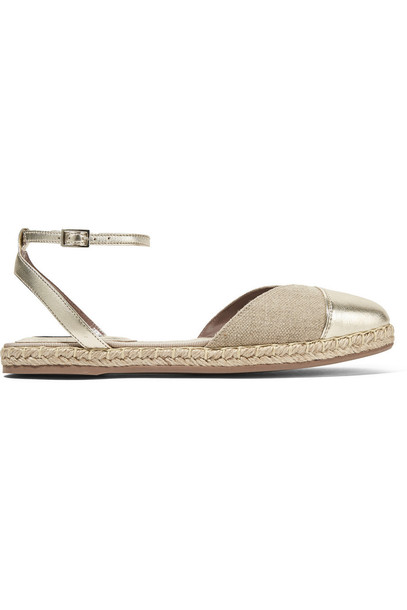 tabitha simmons metallic espadrilles leather beige shoes