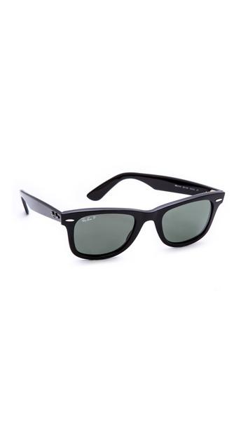 Ray-Ban Polarized Wayfarer Sunglasses - Black/Green Polar
