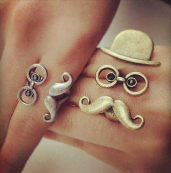 jewels moustache hat glasses ring