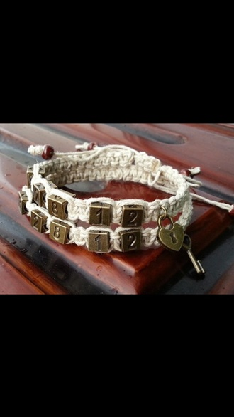 jewels white rope beige bracelets numbers key lock couple charms