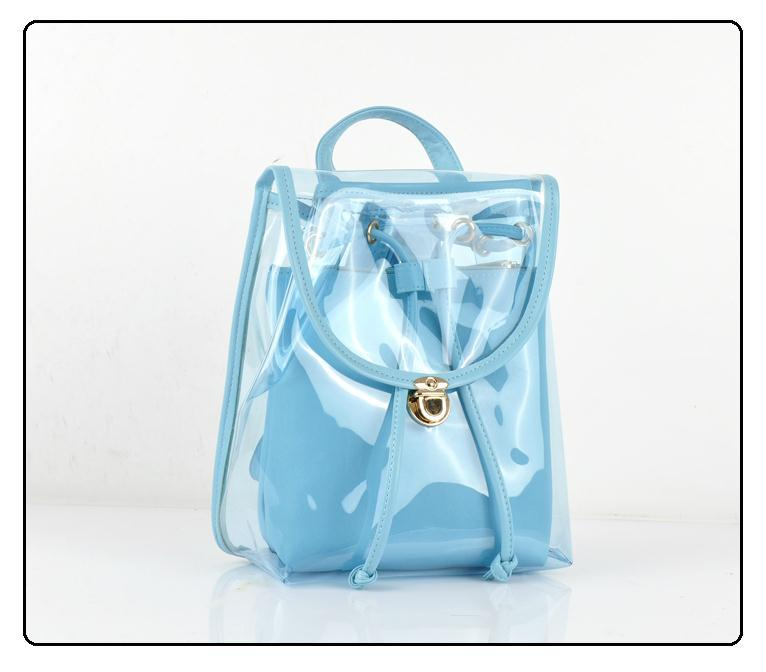 Girl Boy Fashion Transparent Clear Backpack Plastic Student Bag ...