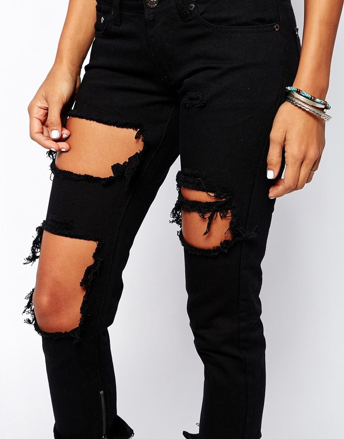 &amp Poker Skinny Jeans With Extreme Distressing Ripped Knees
