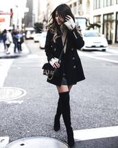 coat,tumblr,black coat,boots,black boots,high heels boots,thigh high boots,over the knee boots,skirt,mini skirt,black skirt,black leather skirt,leather skirt,beige sweater,bag,black bag,pam hetlinger,the girl from panama,blogger,sweater,shoes,jacket,crossbody bag,camel sweater