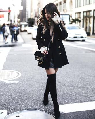 coat tumblr black coat boots black boots high heels boots thigh high boots over the knee boots skirt mini skirt black skirt black leather skirt leather skirt beige sweater bag black bag pam hetlinger the girl from panama blogger sweater shoes jacket crossbody bag camel sweater
