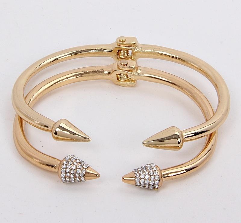 Crystal double spike hinged bangle bracelets