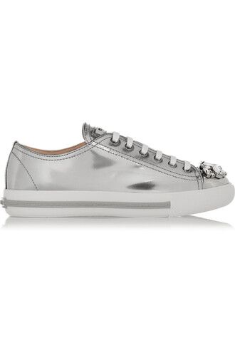 embellished sneakers leather silver shoes
