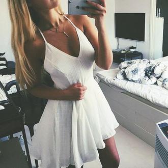 dress clothes white v neck short summer white v neck dress