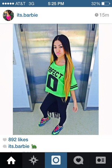 cute top cutie cutie cutie pretty lime green jersey high to low perfecto perfect