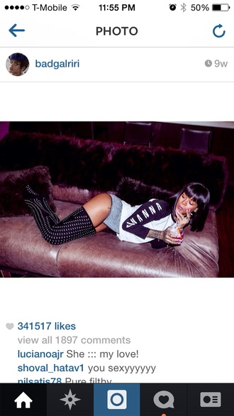 underwear knee high socks black socks rihanna t-shirt