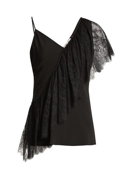 Diane Von Furstenberg top draped lace black