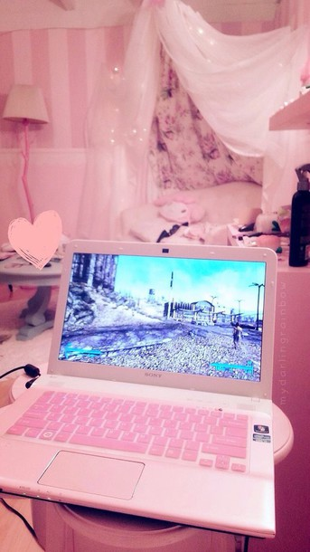 Home Accessory Pink Laptop Girly Technology Pink