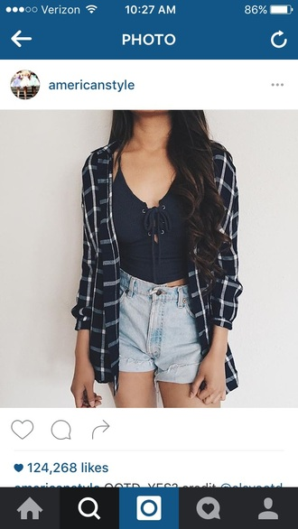 top summer top shirt shorts black blue black top lace lace up tank top summer black crop top lace up top plaid flannel shirt short shorts denim shorts ripped shorts acid wash cardigan crop tops flannel black tank top cute tank tops outfit