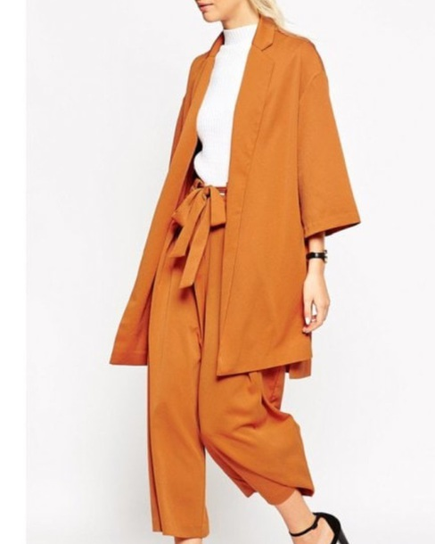 jumpsuit girly two-piece matching set orange cardigan pants blazer