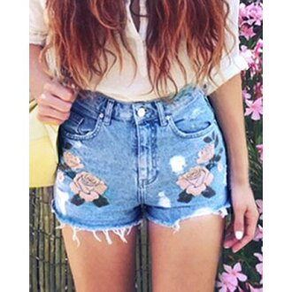 shorts short floral flowered shorts girl girly girly shorts rose roses jeans denim denim shorts high waisted shorts floral high waisted shorts