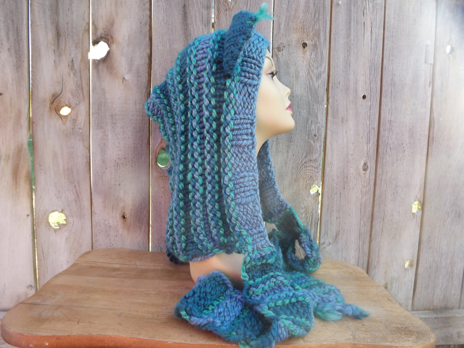 Custom Order-Cat Hood with Scarf - Dark Teal, Blue and Mint Green - Wool Blend