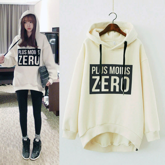 sweater hoodie fashion style cool korean fashion zero fleece hooded sweater coat trendy stylish fall outfits warm cozy white sweater beige sweater black leggings