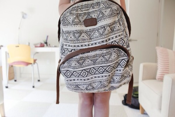 bag backpack black and white aztec hipster bag leather