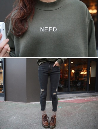sweater khaki oversized shoes brown socks ripped skinny jeans black grey tumblr ripped jeans