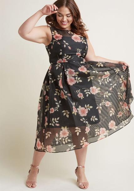 AP1D101533 dress midi dress black midi dress sun sheer pale midi black pink leaves