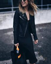 dress,tumblr,black dress,midi dress,slip dress,jacket,black jacket,black leather jacket,leather jacket,bag,black bag,winter date night outfit,all black everything