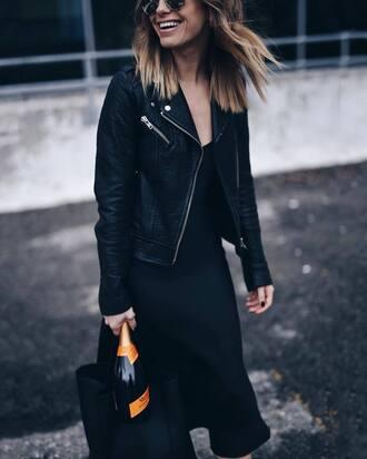 dress tumblr black dress midi dress slip dress jacket black jacket black leather jacket leather jacket bag black bag winter date night outfit all black everything