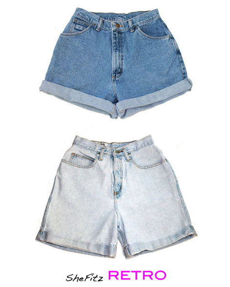 Custom High Waisted Rolled Up Cuff Jean shorts by SheFitzRetro