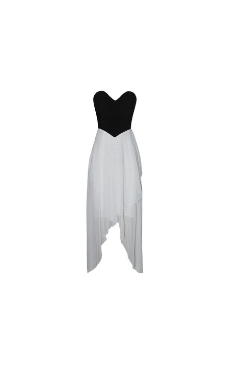 Strapless hi lo black and white dress