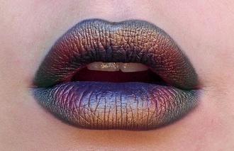 jewels lipstick make-up lips metallic grunge purple cardigan holographic lip mac cosmetics cosmetics