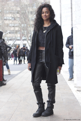 jacket dope black black boots timberlands model top leather curly hair african american hoodie trill celine celebrity style necklace smile crop tops cropped cute grunge leather pants iwantitnow